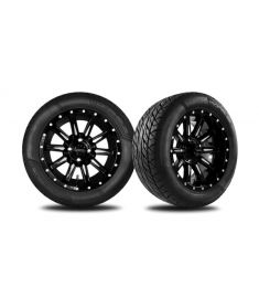 14 Gloss Black and Machined Zeus Wheel with 215/50R-14 Steel-Belted Radial Morpheus Tire