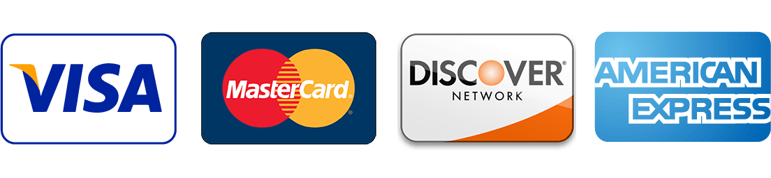 Visa Mastercard Discover American Express Accepted